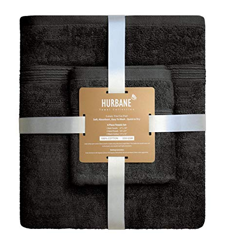 Blancho Bedding HURBANE Premium 6 Piece 550 GSM 2 ply 100% Cotton Luxury Towel Set with 2 Bath Towels, 2 Hand Towels, 2 Wash Cloth, Better Than 5 Star Hotel Grade, Grey from Blancho Bedding