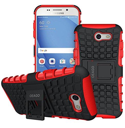 OEAGO Samsung Galaxy J3 Emerge / J3 Prime / J3 Eclipse / J3 2017 / J3 Luna Pro / J3 Mission / Sol 2 / Amp Prime 2 / Express Prime 2 Case, Tough Rugged Dual Layer Case with Kickstand (Red)