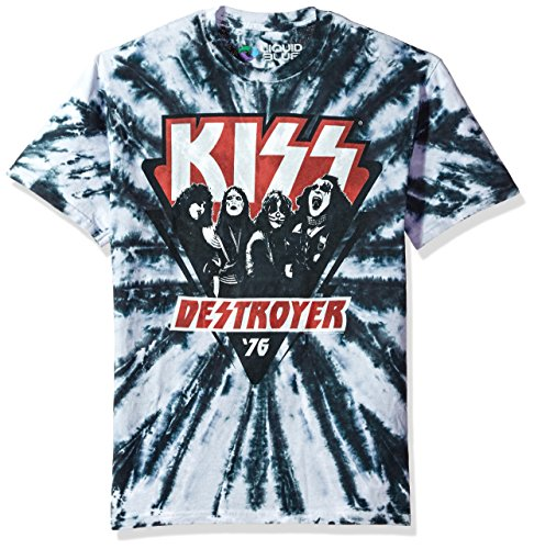 Liquid Blue Unisex-Adult's Kiss Destroyer 1976 Tie Dye Short Sleeve T-Shirt, Multi Colored, Medium