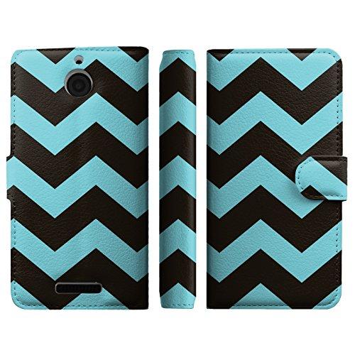 Black Blue Chavron Design Folio wallet Flip Case Stand With Credit Card Slot + Money Pocket for HTC Desire 510