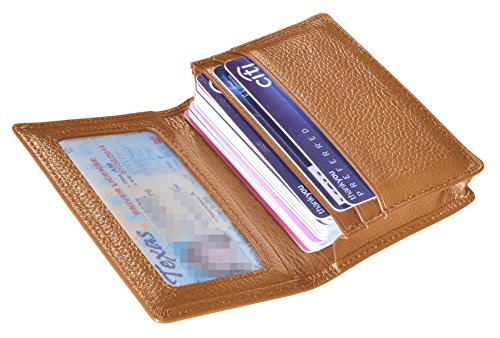 Outrip Genuine Leather Business Card Holder Name Card Case Credit Card Wallet with ID Window RFID Blocking (Brown)