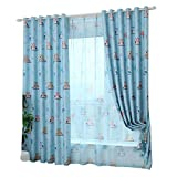 Hoomall Window Treatments Grommet Curtain Children Blackout for Bedroom Living Room Polyester Blue 39x98 Inch 1 Panel