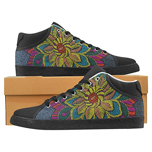 Jeans for Women Sneakers Fashion Canvas jeans Flower InterestPrint Chukka xwIqY8Xx
