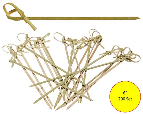 Prexware 6 Inch Bamboo Knot Skewers, Twisted Ends Bamboo Picks Cocktail Picks 200 Ct. by Prexware