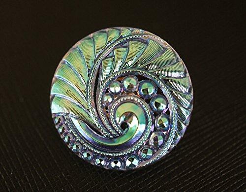 - Hand Made Art Czech Glass Button Light Lilac AB, size 12'', 28mm, 1pc