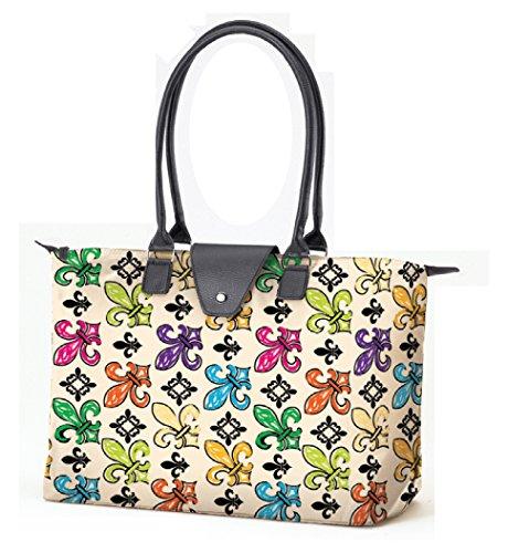 Fold Up Tote Bag with Long Handle - Creme Fleur De Lis