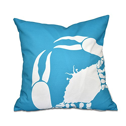 E by design 26 x 26 inch, Crab Dip, Animal Print Pillow, Turquoise by E by design