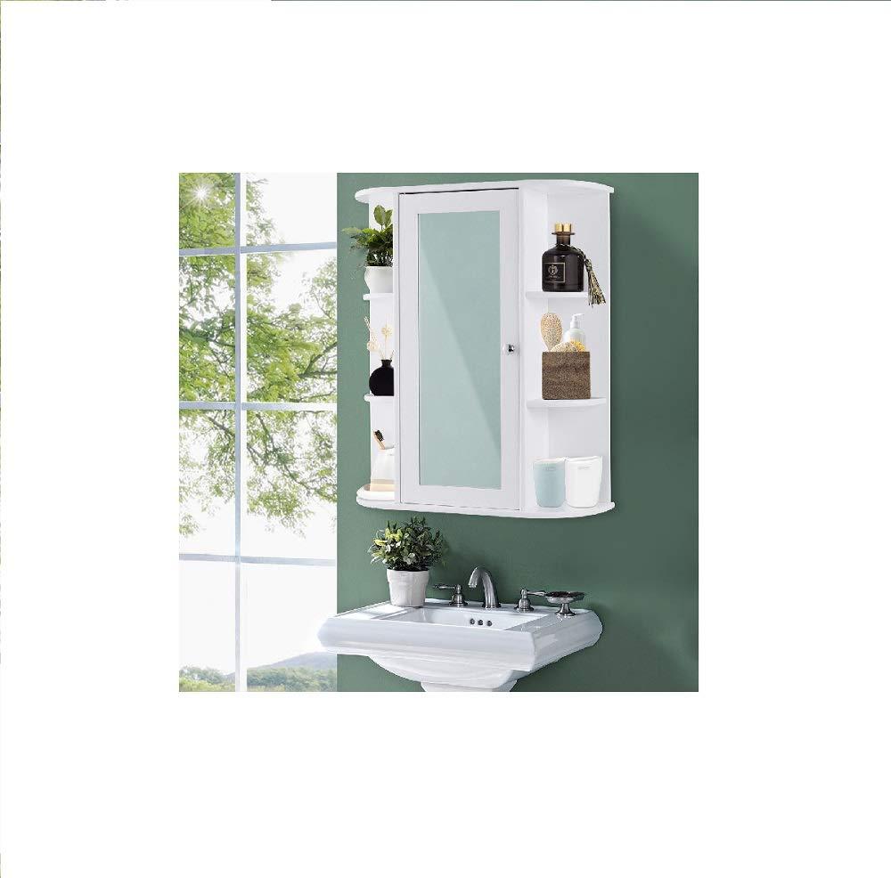 Daisy Days Bathroom Wall Mount Single Door Cabinet Shelves with Mirror Organizer
