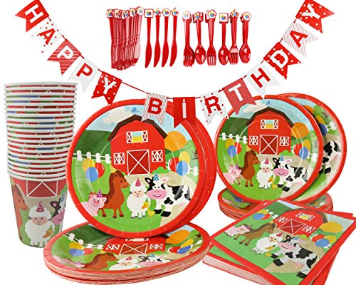 Barnyard Farm Animals Birthday Party Supplies 141-Piece Kit, Paper plates, Cups, Napkins, Cutlery, Birthday Banner