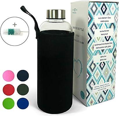 Wenburg Wolton Botella de Vidrio 550 ml / 750 ml + Cepillo de Limpieza, cantimplora/Botella de Cristal para Agua, zumos, té, licuados. Adecuado para Adultos, niños (1 l, Negro): Amazon.es: Deportes y aire libre