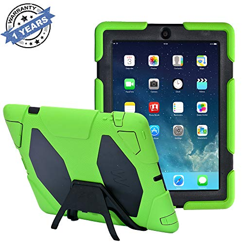 iPad Cases,iPad 2 Case,iPad 3 Case,iPad 4 Case,TRAVELLOR[Heavy Duty] Three Layer Armor Defender and Full Body Protective Case Cover with Stand and Screen Protector for iPad 2/3/4-LightGreen/Black
