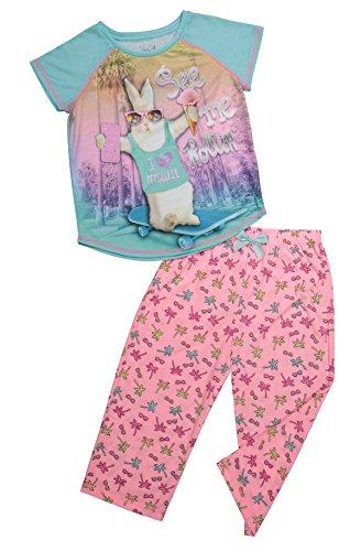 Accent Capri Set - Girls Sleepwear Raglan Short Sleeve Sleep Shirt & Capri Pants Pajama Set (XL (14/16), Aqua Splash/Sugar Plum)