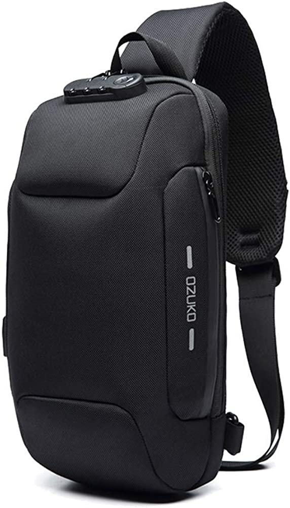 OZUKO Sling Backpack USB Anti-Theft Men'S Chest Bag Casual Shoulder Bag