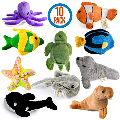 Prextex 10 Piece Plush Soft Stuffed Sea Animals Playset Plush Sea Life Assortment, Turtle, Stingray, Nemo Fish, Killer Whale and More ()
