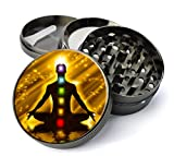 Expression Gifts Grinder_80 5 Piece Chakra Meditation Spice Tobacco Herb Grinder with Pollen/Keef Catcher, X-Large