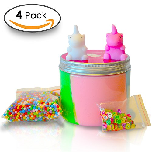 Unicorn Party Supplies Slime Containers Kit + 2 FREE UNICORN SQUISHY Magical Unicorn Fluffy Slime Putty Accessories Toys Pastel Rainbow colors that create Happy Satisfying Stress Relief HOURS OF FUN!
