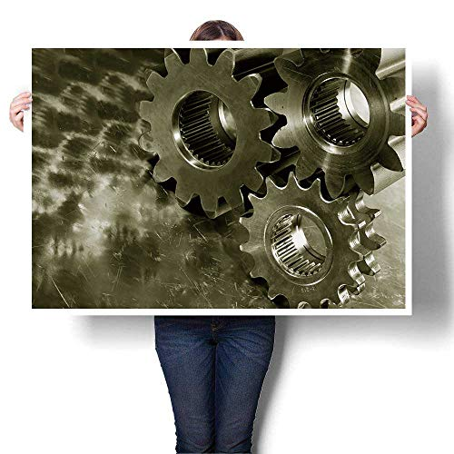1 Piece Canvas Wall Art -,Large Steel Gears and Wheels Against a Titanium Background,Duplex Bronze Toning idea Abstract Art Painting - Modern Home Decor,28