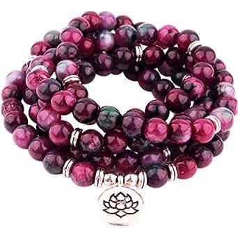 (GVUSMIL116) - GVUSMIL 8mm Mala Amazonite 108 Beads Necklace for Yoga Buddhist Rosary Prayer Charm Bracelet Made by Natural Gemstone Agate Jade for Women Men