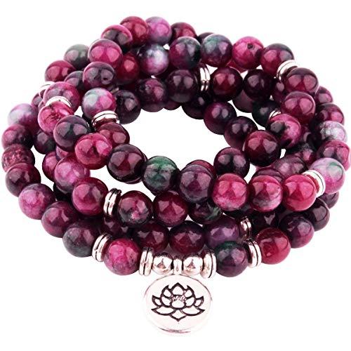 (GVUSMIL 108 Mala Beads Wrap Bracelets Charm Natural Gemstone Colorful Mala Bead Bracelet)