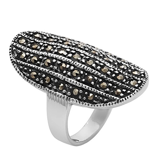 Silverly Women's .925 Sterling Silver Simulated Marcasite Oxidised Oval Curved Lined Shield Ring
