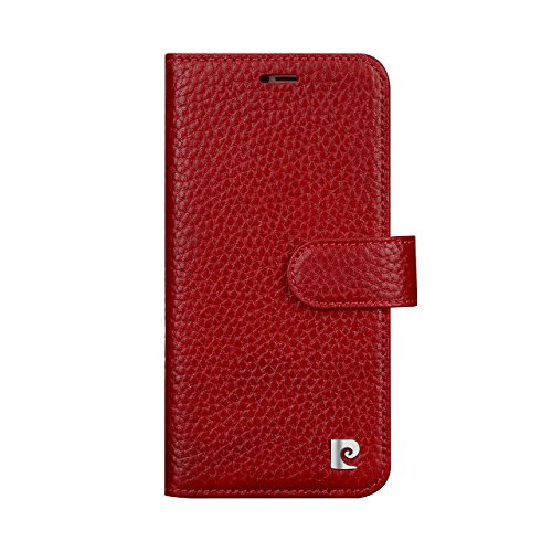 Pierre Cardin Wallet Case Premium Genuine Leather Folio Cover with Credit Card Flip Money Cash Kickstand Detachable Design Slots for Apple iPhone X (Red) by Pierre Cardin (Image #1)