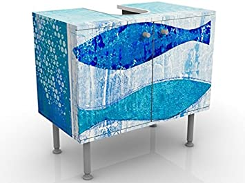 lavabo mobiletto regolabile Mobile per lavabo design Fish In The Blue 60x55x35cm mobile da bagno basso Larghezza: 60cm lavandino mobiletto da lavandino mobiletto da lavabo bagno bagnetto