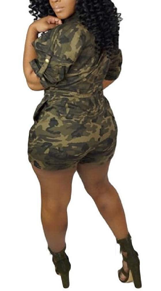 Joe Wenko Womens Short Sleeve Casual Camo Short Rompers Elastic Waist Jumpsuit