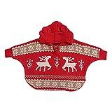 Coohole Winter Boys Girls Baby Hooded Christmas Cute Deer Outwear Cloak Jacket Coat (24M, Red)