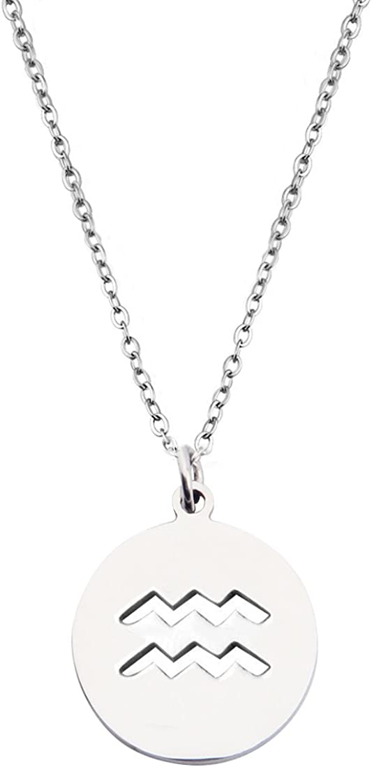 KUIYAI Zodiac Signs Cut Out Stainless Steel Disc Necklace