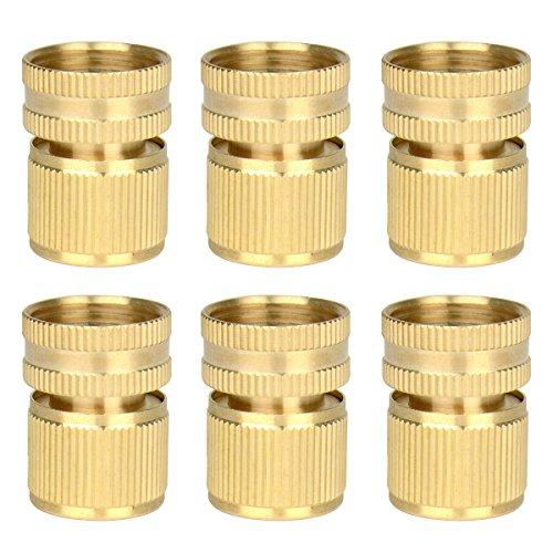 6 Pieces Brass Quick Female Hose End Internal Thread Connector Garden Hose Nozzle