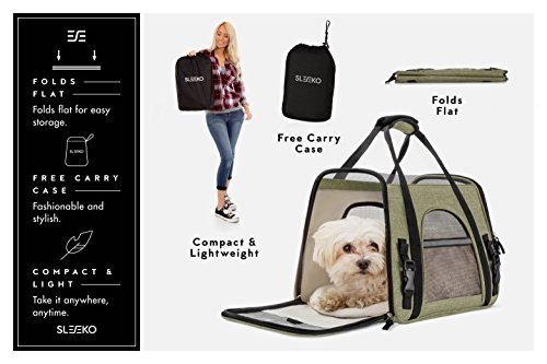 SLEEKO Luxury Pet Carrier Airline Approved Premium Under Seat Compatibility for Dogs and Cats - Soft Sided Portable Airplane Tote Bag Backpack with 2 Fleece Pads and Storage Case for Outdoor Use