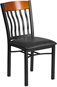 Flash Furniture Eclipse Series Vertical Back Black Metal and Cherry Wood Restaurant Chair with Black Vinyl Seat