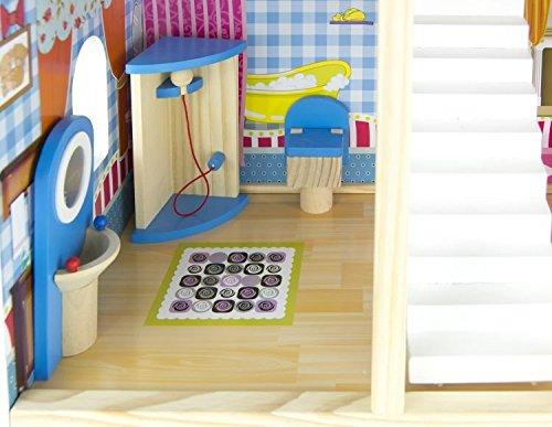Leomark Traumvilla Holzpuppenhaus Mit Möbeln, Puppenhaus Holz. Plus Gratiss  3 Puppen.: Amazon.de: Spielzeug