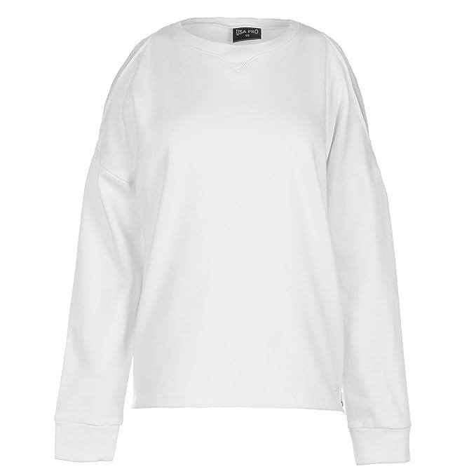USA Pro Mujer Sudadera Cuello Redondo Blanco XS (EU 36/UK 8)