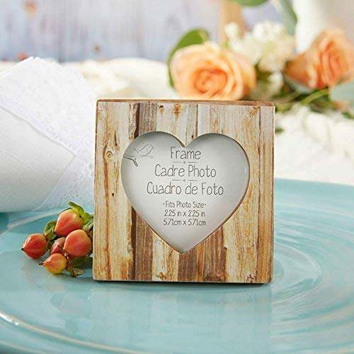 Kate Aspen Rustic Romance Faux-Wood Heart Place Card Holder/Photo Frame, Wedding Favors- Total 12 Units