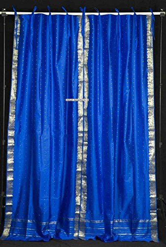 Indian Selections Lined-Island Blue Tie Top Sheer Sari Curtain/Drape – 80W x 120L – Piece