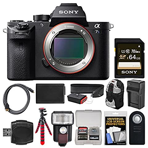 Sony Alpha A7S II 4K Wi-Fi Digital Camera Body with 64GB Card + Backpack + Flash + Battery & Charger + Tripod + Remote + - Sony 12 Inch