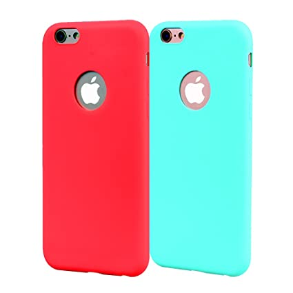 Funda iPhone 6, Carcasa iPhone 6S Silicona Gel, OUJD Mate Ca6S Ultra Delgado TPU Goma Flexible Cover para iPhone 6/6S - Cielo azul + rojo