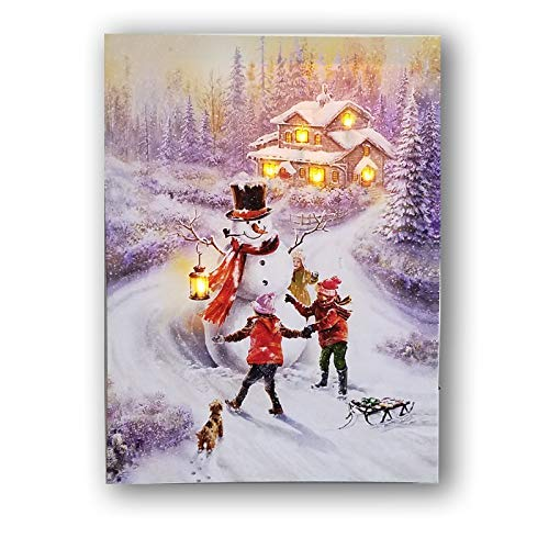 LED Canvas Prints with 6 Lights Canvas Painting Christmas Canvas Wall Artworks Pictures Printing for Decor