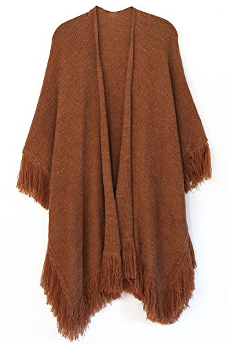 ScarvesMe Heathered Ruana with Soft Fringe (Rust) by ScarvesMe