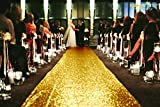 ShiDianYi Sequin Aisles Floor Runner-4FTX15FT Wedding Aisle Runner (Gold)