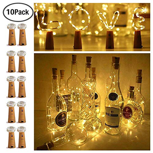 Led Wine Stopper - Ninight 11 20 LED Cork String Wine Bottle Fairy Mini Copper Wire, Battery Operated Starry Lights for DIY Christmas Halloween Wedding Party Indoor Outdoor Decoration, 10 Pack (Warm White), 20led