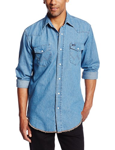 Wrangler Mens Cowboy Cut Work Western Long Sleeve Shirt,Stonewashed,Large Tall