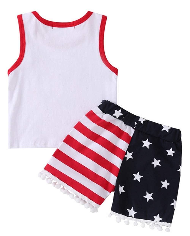 UNIQUEONE 4th of July Newborn Boys Girls Sleeveless American Badass Vest Tops+Stars Stripes Pant 2Pcs Outfits