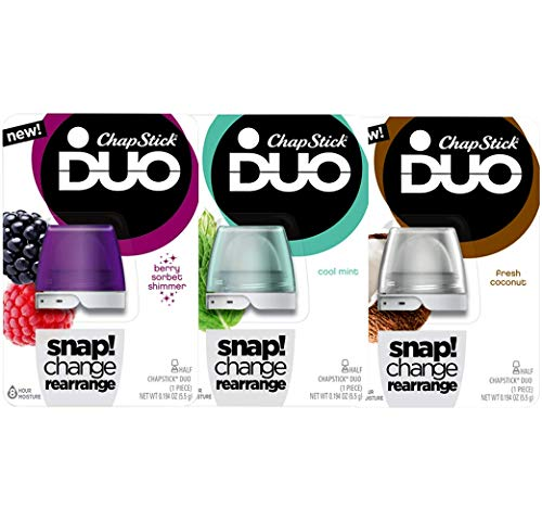 (Chapstick Duo 3 Piece Set Includes Cool Mint, Berry Sorbet Shimmer, Fresh Coconut)