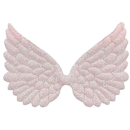 Glitter Fabric Angel Wings Embossed Angel Wing Appliques for DIY Craft Project, Hair Accessory - Pack of 10 PCS (Glitter Pink)