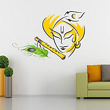 SRG India Lord Krishna Removable Decor Wall Stickers Decal For Temple  Living Room
