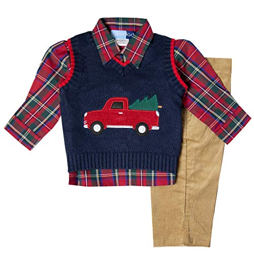 Toddler Boys 3 Piece Sweater - Good Lad Toddler Boy Navy Three Piece Sweater Vest Set with Christmas Themed Applique (3T)