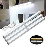 Hitommy Wireless PIR Motion Sensor USB 18 LED Cabinet Closet Night Light Bar Lamp - Warm White