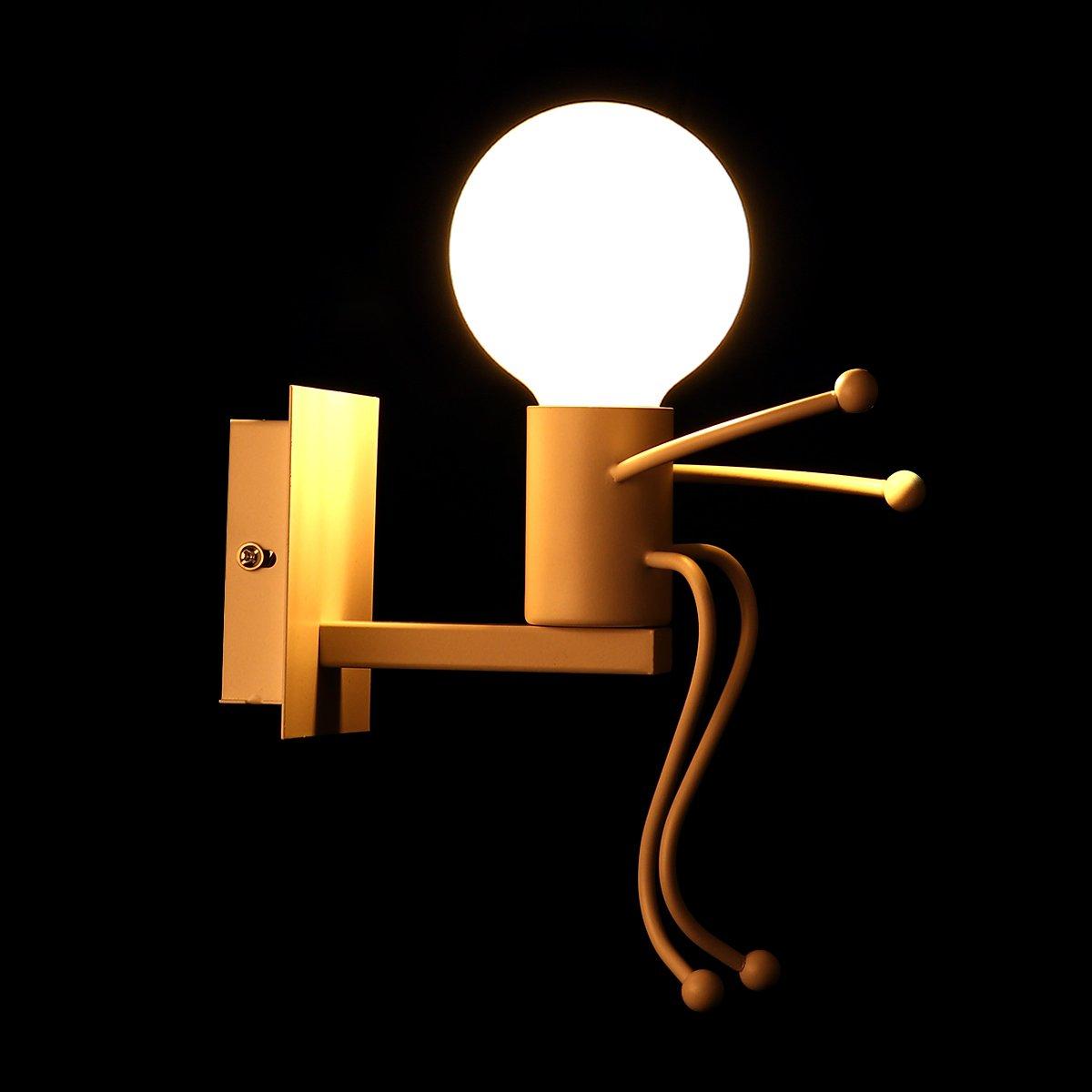KAWELL/® Kreative Vintage Wandleuchte LED Industrie Retro Wandlampe Schwarz Eisen E27 Halter Innen Art Deco f/ür Bar Schlafzimmer Flur K/üche Caf/é Wei/ß Restaurant